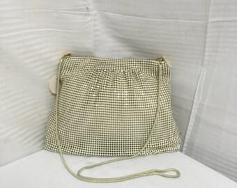 Tan metal mesh purse, bag, purses, bags, shoulder bag, vintage purse