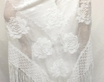 White lace Shawl, Fringed, Piano Scarf,roses, Free shipping in the US