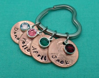 Lucky Penny Keychain, Personalized Keychain, Custom Keychain, Hand stamped penny anniversary gift, Mother's Day
