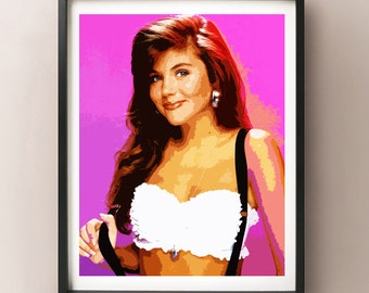 Kelly Kapowski, Tiffani Amber Thiesen, Bayside Tigers, Saved By The Bell, 1990s, Celebrity Wall Art Poster - Instant Download Printable Art