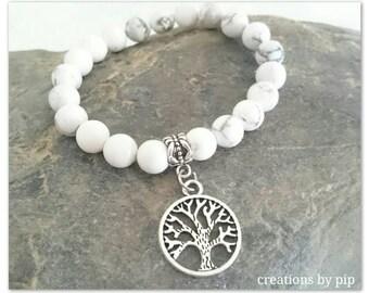 White Turquoise Beaded Tree of Life Charm Bracelet