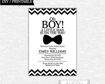 Black and White Boy Baby Shower Invitation Little Man Baby Shower DIY Printable ( PDMSI001)