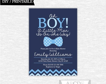 Blue, Navy Boy Baby Shower Invitation Little Man Baby Shower DIY Printable ( PDMSI104)