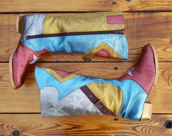 Off 10% Upcycled vintage boho cowboy style knee-high boots / leather boots. hand painted shoes