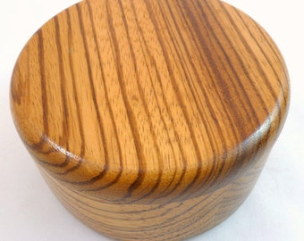 "AFRICAN ZEBRAWOOD BOX 5-1/2"" by 3"" Handcrafted  1/2"" Thick African Zebrawood Round Trinket/Jewelry Box 1/2"" Thick African Zebrawood Lid Box"