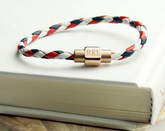 Bracelet en cuir nautique de Wome personnalisé avec fermoir en or - bijoux - cadeau anniversaire - cadeau femme pour femme - cadeau pour copine-