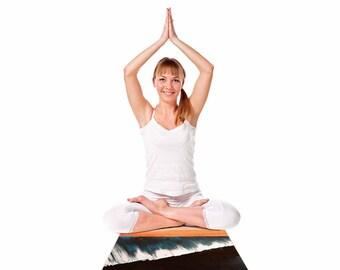 "Yoga Mat - Blue Orange Waves Nathan Gibbs ""Clean Slate"" NG1009A Great Gift Idea!"