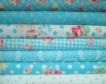 Lecien Flower Sugar, Fall 2015, Aqua and White, Fat Quarter Bundle of 7, Japanese Fabric