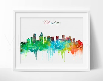 Charlotte Skyline Print, Charlotte Cityscape, North Carolina Print, Nursery Art Print, Watercolor Painting, Wall Decor, Not Framed, No. 53
