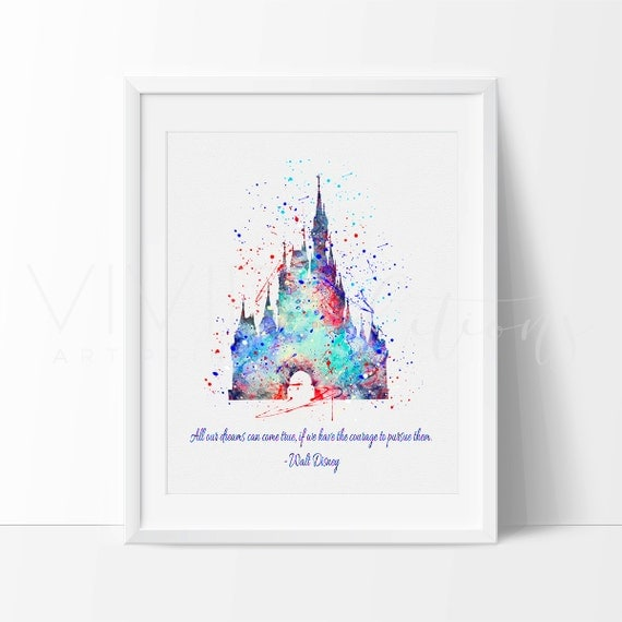 Wall Art Quotes Disney : Cinderella castle quote disney princess nursery art print wall