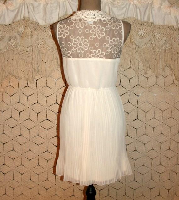 white dress pleated skirt midi sleeveless chiffon by