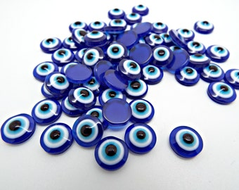 Evil Eye Cabochons, 25 Resin Cabs, Blue Cabochons, Evil Eye Cabs, 10mm Cabochon, Flat Back Cabs, Small Evil Eye, Jewelry Cabochon, UK Seller