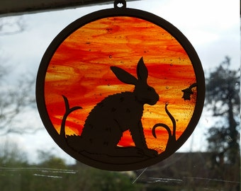 Magical Hare Stained Glass & Wood Window Hanger