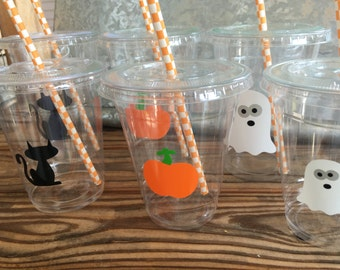 Halloween Party Cups with lids and straws -  16oz and 12oz disposable cups - birthday party supplies