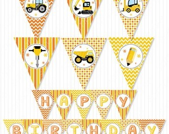 Constructions Party Banners, Constructions Bunting Flags, Constructions birthday, Digital Printable Banners, INSTANT DOWNLOAD