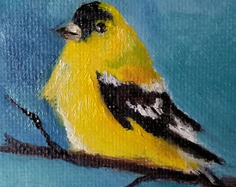 Original Oil Bird Painting, Bird Ornament, Goldfinch Painting, Yellow Bird, Miniature Painting 2.5x2.5 Inch