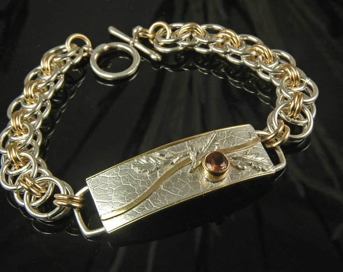 Oregon Sunstone, Nordic Oak and Helm Chainmaille Bracelet