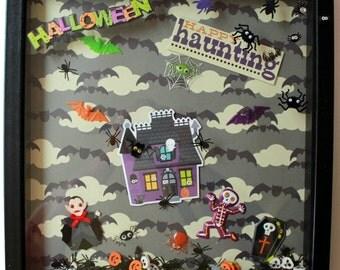 Haunted Halloween - Halloween Wall Art - Trick or Treat - Halloween Shadowbox - Halloween Decoration - Halloween Costume Party - Spider Bat