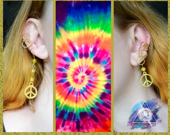 "Ear cuffs ""Sunny hippie"" / hippie style, boho style, peace, symbol of peace, hippie jewelry, earcuffs, ear cuff hippie, quasarshop"