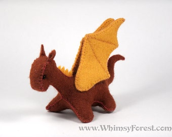 Miniature Cinnamon Felt Toy Dragon