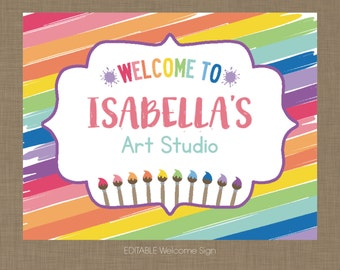Instant Download, Editable Painting, Art Birthday Party Welcome Sign