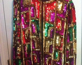 Colorful Sequined Jacket Jewel Multicolored Embellished Bright Rainbow Beaded Blazer Vintage 80s 1980s