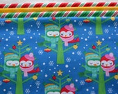Christmas Fabric, Michael Miller, All The Trimmings, Christmas Lovebirds, Fat Quarter Bundle, Royal Blue, Stripe, Cotton Sewing Material