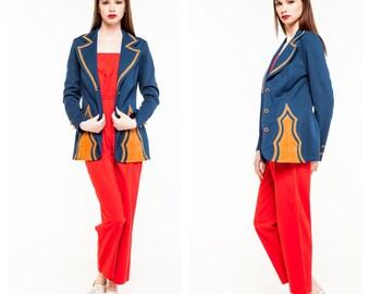 Vintage Blue and Tan Blazer/ 80s Blazer/ Work Attire/