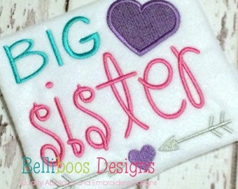 Big Sister Embroidery Design - Big Sister Applique Design - Applique Design - Embroidery Design - Sibling Applique - Sibling Embroidery