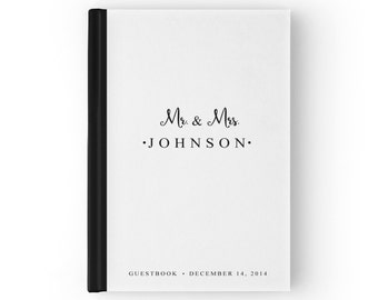 Black and White Wedding Guest Book, White Guest Book, Simple Wedding Guest Book, Simple Guest Book, 5 x 7, 8 x 10 inches