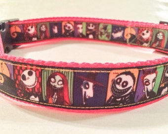 Nightmare before Christmas inspired dog collar