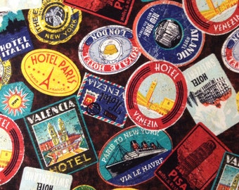 One Half Yard of Fabric Material - Vintage Travel Labels