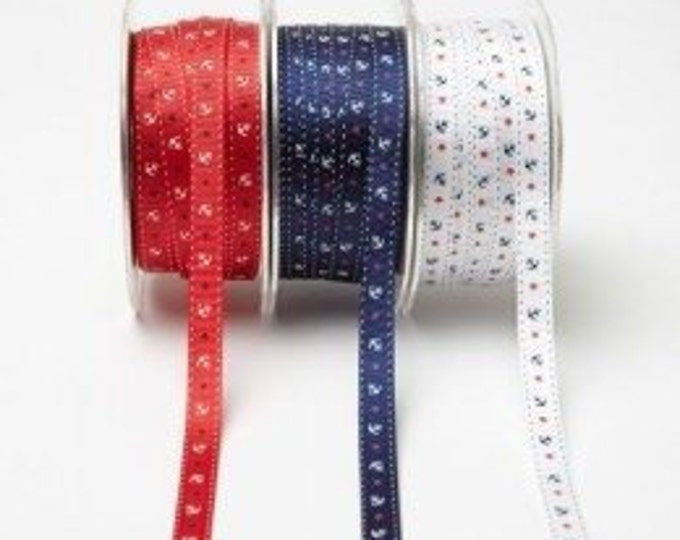 May Arts - Grosgrain Ribbon Anchors and Stars Print - 3/8 inch - Navy Blue White Anchors Red Stars