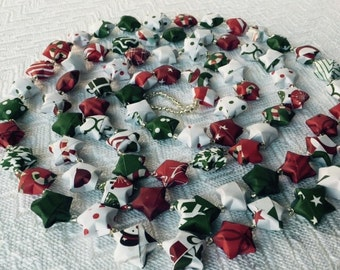 Holiday Paper Origami Star Garland with clear sliver beads #1