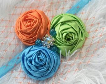 Colourful Rosette Cluster with Veil and Rhinestone- Baby / Toddler / Girls / Kids Elastic  Hairband / Headband / Hair Flower