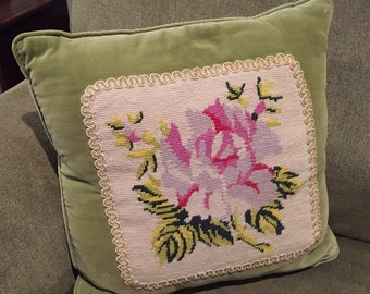 "Needlepoint Pillow Floral Pink, Green, Lilac 13"" x 13"" Square Completed"