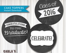 """Class of 2016 Chalkboard Graduation Commencement Cupcake Toppers Stickers 2"""" Circle DIY INSTANT DOWNLOAD Printable"""