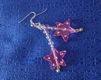 Sterling Silver Pink Star Earrings Pink Star with Beads Dangle Earrings