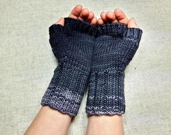 Handknitted Fingerless Gloves for Kids, gray, Wool Merino, Arm Warmers, Mittens