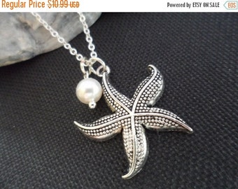 ON-SALE Starfish and Pearl Necklace - Bridal Jewelry, Bridesmaid Gifts, Beach Wedding Theme