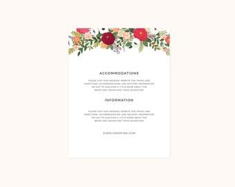 Penelope Collection - Wedding Details Cards (Pack of Twenty-five)