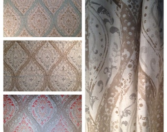 Paisley Ogee Printed Cotton Drapery and Decorative Panels Custom Made to Order