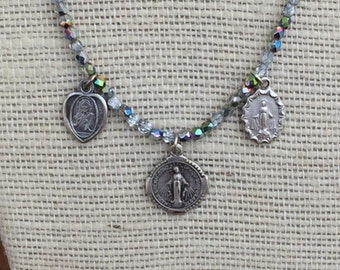 Religious Medal  Necklace Tiny Madonnas on Czech Fire Polish Vitrial Beads
