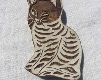 Indian Wood Block Stamp Cat