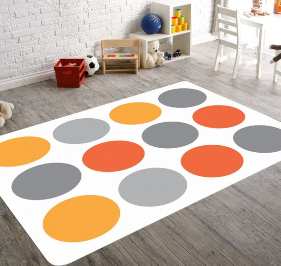 Orange Kids Room: Nursery Rug Orange Grey Nursery Playroom Rug Kids Playroom
