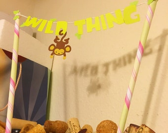 """Green """"Wild Thing"""" Cake Topper Banner"""