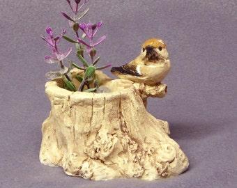 Handmade Ceramic Plant Holder with a Bird - Ceramic Planter,Sculptural Plant Holder, Ceramic Bird, Ceramic Art