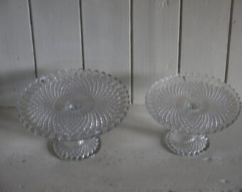 Vintage Glass Cake Stands - Matching Pair