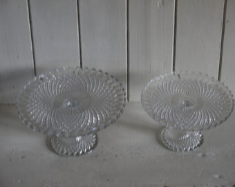 REDUCED Vintage Glass Cake Stands - Matching Pair