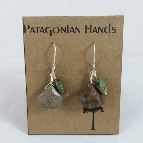 Handmade  Fine Silver (.999) and sterling silver  earrings with Chrysocolla and Oiled Emerald tear drop gemstone. Free shipping in the U. S.